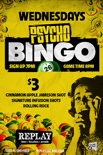 Psycho Bingo Flyer at Replay